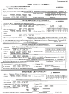 Форма родового сертификата (образец заполнения)